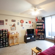 Living room area with a red couch and wood coffee table. Black tv stand and tv, and black corner shelving unit is filled with personal items and flags. Beige wall is decorated with several small wall hangings.