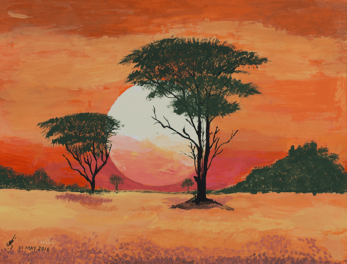Painting of a large bright sun setting in the distance surrounded by a vibrant red and orange sky. There are a few trees in the distance behind a sparce yellowish coloured landscape on either side of the setting sun, and 2 trees are situated closer that illustrate the dark tree trunks and green leaves on the branches. Created by HIRO client.