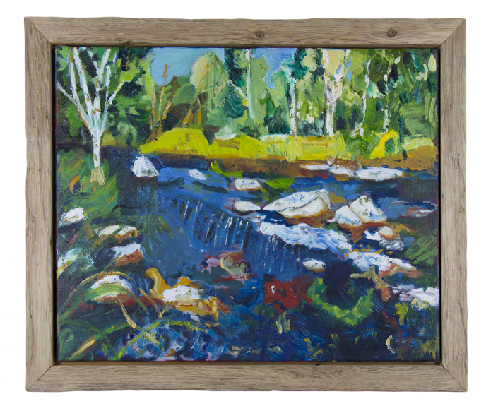 Painting of nature scene with various shades of green, blue, yellow, red and white. Several birch trees and evergreens, grass, rocks and stream waterfall. Created by HIRO client.