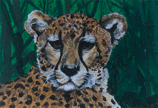 Painting of a close up of a cheetah's face with a green background; created by Nicole, HIRO client
