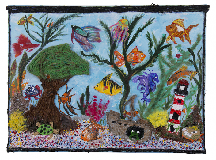 Painting of fish tank with coral and bright, colourful fish created by Judy, HIRO client