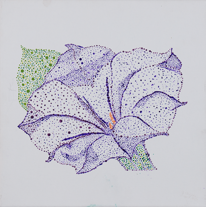 Painting of colourful purple dotted flower with orange centre and green leaf and stem. Created by a HIRO client.
