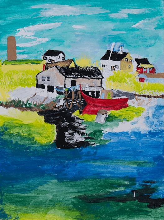 Bright and colourful oil painting of a fisherman's cove. Tourqoise and white sky tops a yellow/green landscape with several buildings, a bright red boat is docked by a building and is based on a blue/green sea. Created by Corry; HIRO client