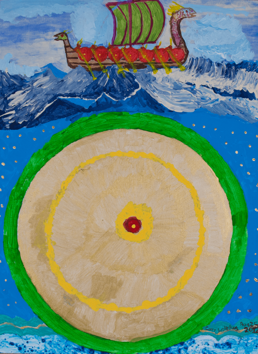 Painting of red ship, green and red sail and yellow oars sailing through a rough and wavy blue sea. Underneath the surface of the waves is a large beige circle outlined in green. A thin yellow cirlce divides the beige circle, and a large red dot surrounded by a larger yellow dot is situated right in the middle of the circle. Speckled light and dark blue cover the bottom directly underneath the circle. Created by a HIRO client.