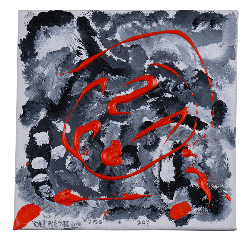 Abstract painting with black and grey imagery in the background and popping red accents. Created by HIRO client.