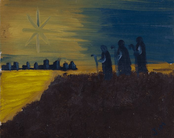 Painting of a large star that lights up a dark blue sky. 3 men in robes look towards the bright star from the fields outside a city. Created by a HIRO client.