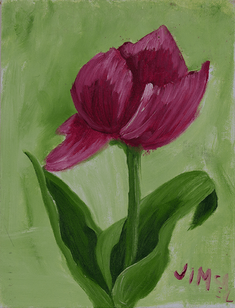Painting of single vibrant red tulip with a green stem. Background is a lighter green. Created by Jim, HIRO client.